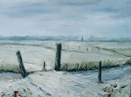 Winter painting en plein air by NancyvandenBoom