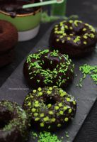 Homemade Baked Chocolate Donuts w Chocolate Gnache by theresahelmer