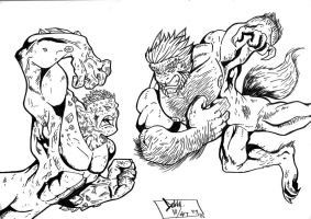 Werewolf vs monster? lineart by Dekka-93