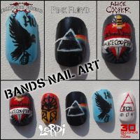 Bands nail art by Ninails