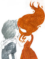Finn and Flame Princess as Opposites by KoobersKoob