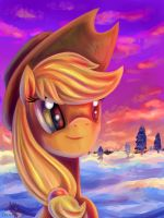 Snowy Applejack by erovoid