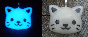 Glow in the Dark Chibi Kitty Charm by heatbish
