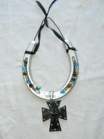 Chrome and Silver Beaded Horseshoe by Rising-High-Ranch