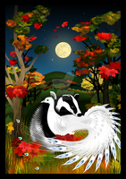 Badger and Peacock in Autumn by SandyMackenzie