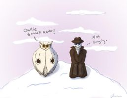 Watchmen-Rorschach and Sno Owl by okokay
