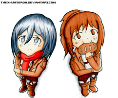 Mikasa Ackerman and Sasha Braus by TheXHunter08