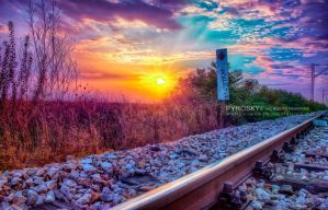 Trainspotting sunset by Piroshki-Photography