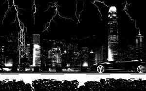 City scape with lightning by Frycoholic