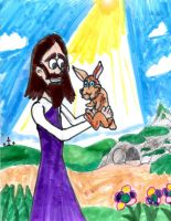 Jesus Holds a Bunny by SonicClone