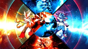 Mega Blaziken VS Mega Lucario Wallpaper by FRUITYNITE