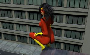 Spider-Woman Perches by MickLee99