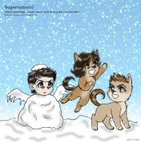 Supernatural Little-Cas : Winter greetings 2013 by noji1203