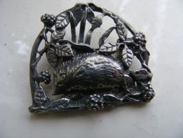 Vintage Pewter Hedgehog Brooch by sevvysgirl
