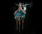 Turquoise and Carnelian Pendant by SilverTwine