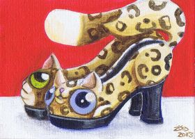 Funny cats are leopard print shoes by KingZoidLord