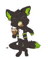Zel eating his favorite food - Commission by Mk0i by Zel-the-Wolf