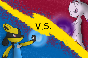 Request Lucario VS Mega Mewtwo Y by KurtisTheSnivy