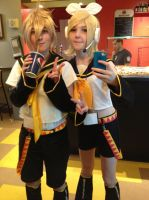 Rin x Len Cosplay (at a pizza place) XD by HatsuneMiku012