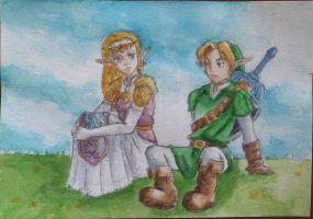 Zelda and Link - Watercolor by tite-pao