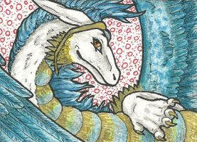 17. ACEO - Ice dragoness by Tir-Goldeness