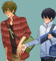 COLLEGE BOYS ALMOST HOLDING HANDS by doesu