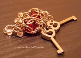 Red and Silver Lock Weave Necklace - Keys by ulfchild