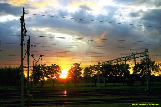 THE LAST SUN RAYS OVER THE RAILWAYS TRACKS... by magicandbrother