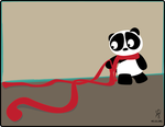 The Panda and the Red Scarf by mystikalyx