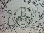 Megaman in a War Torn City outline by sampson1721