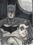 Batman and Robin Sketch Card! by MikeVanOrden