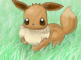 Eevee in the grass by NiGHTSHAO
