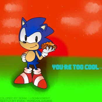 Classic Sonic eating a chilldog by sonikknight