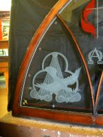 Trinity Dove Baptismal Etched Glass Painted Window by ImaginedGlass