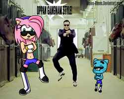 Amy Rose and Gumball: Oppan Gangnam Style! by icefatal