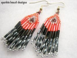 Red and Black Mini Earrings by Natalie526