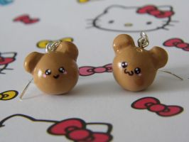 Kawaii Bear Faces Earrings by CharmingLittleFox
