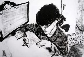 Self-portrait: drawing at my room by MauricioKanno