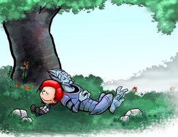 Commander Shepard - Calvin and Hobbes Style by Garrenh