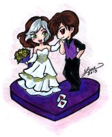 Rogue And Gambit Cake Topper design by aichan25