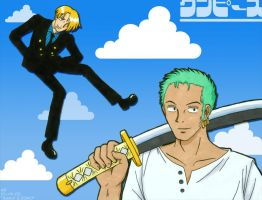 Prismacolor with Sanji 'n Zoro by mistress-samwise