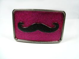 Hot Pink and Black Glitter Mustache Belt Buckle by kawaiibuddies