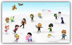 Epic Cross-Over Snowball Fight by AliAvian