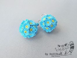 Earrings - Forget-me- by polyflowers
