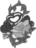 Blue Rose Tattoo Design BW by wolf-girl87