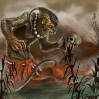 Reptile with Skull by emonteon