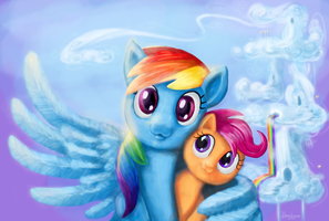 Dashie and Scootaloo by Shaadorian