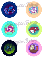 Bronycon - Royal and Villain Chubbie Button Set by pekou