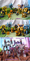 Battle of the Bumblebees (Blurr vs. Shockwave) by TavalyaRa