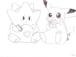 Togepi and Pikachu by BryThatDrawingGuy